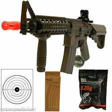 Lancer Tactical M4 CQB Electric Airsoft Rifle Gun-Metal V2 GearBox-2 Mags Tan