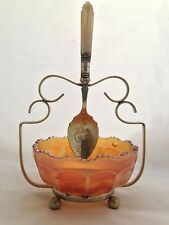 Sugar Bowl Set with Carnival Glass - JAS EPNS spoon & stand / made in England