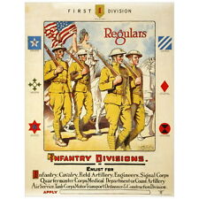 Infantry Divisions Recruiting Poster Deco FRIDGE MAGNET, 1919 Cavalry Artillery