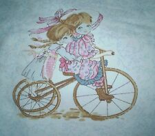 Vintage HOLLY HOBBIE GIRL Style on BICYCLE Fabric Panel #1 (20cm x 18cm)