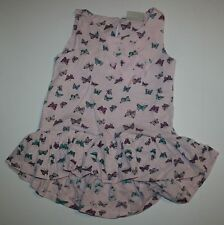 New NEXT UK Butterfly Hi Low Ruffle Hem Tunic Top Shirt Size 4 5 Year or 110 CM