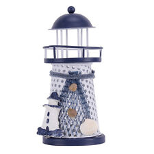 Tall 15cm Wooden Nautical Beacon Lighthouse Harbour Lights Home Ornament Decor