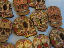 100 Piece Large Wooden Button/Buttons SKULL 2,50 cm / 25 mm
