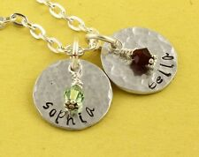 Personalized Custom Birthstone Necklace - Handstamped Child's Names Gift for Mom