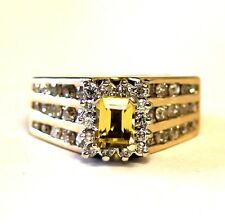 14k yellow gold 1.46ct SI1 I womens diamond citrine ring 16.3g vintage size 5