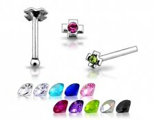 20 Wholesale 22g Silver Cross Clear Stone GEM CZ Nose Studs Pins Rings N011