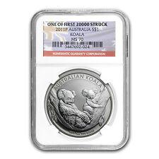 2011-P 1 oz Silver Australian Koala Coin - MS-70 NGC - First 20,000 Minted