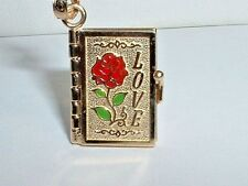 14K YELLOW GOLD 3D LOVE BOOK PENDANT CHARM - OPENS UP TO BIBLE VERSE