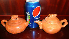 New A Pair Chinese Jade Stone Teapot Green tea Cha Hu pot Set 2 Vintage Antique