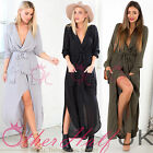 UK WOMENS SPLIT MAXI LONG DRESS SHIRT EVENING PARTY WRAP DRESS SIZE 8-16