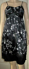 NEW LOOK Black White Floral Satin Look Padded Bust Party Dress Size 10   c45