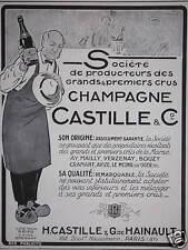 PUBLICITÉ CHAMPAGNE CASTILLE & Co HAINAULT PRODUCTEURS DES GRANDS PREMIERS CRUS