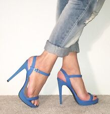 RIVER ISLAND Blue Leather Strappy Ankle Strap Platform Barely There Heels Size 5
