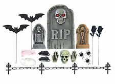RIP GRAVEYARD TOMBSTONE SET SKULL BONE HALLOWEEN PARTY DECORATION 24 PCS RATS