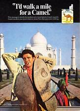 "1969 Man Relaxing at Taj Mahal photo ""I'd Walk a Mile"" Camel Cigarettes print ad"