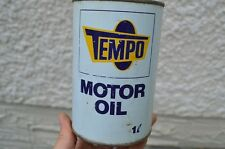 Vintage TEMPO Saskatchewan Tin Oil Can Advertising Sign CO-OP Gas Pump Rack