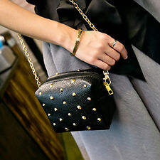Women Ladies Shoulder Bag Rivet Tote Satchel Messenger Hobo Bag Handbag Black