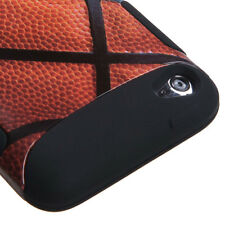 iPod Touch 4th Gen - HARD & SOFT RUBBER DUAL LAYER HYBRID CASE BLACK BASKETBALL