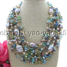 "S121308 18""-24"" 4 strands 25mm Keshi Pearl Crystal Necklace"