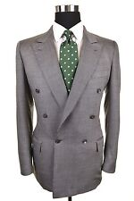 Brioni Made In ITALY Silver Gray Wool SILK Double Breasted Sport Coat Jacket 40