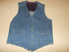 VTG-New 1970s Lee Set Denim Jean Vest Sanforized Sanfor Set  Waistcoat 42R