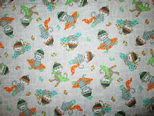 SOCK MONKEY HATS BLANKETS GRAY COTTON FABRIC FQ