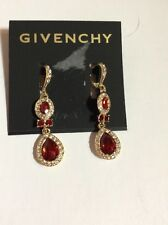 $48 Givenchy Red Pave Double Drop Earrings F 100