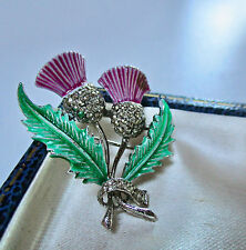 VINTAGE JEWELLERY ENAMEL/MARCASITE SCOTTISH HEATHER BROOCH/PIN