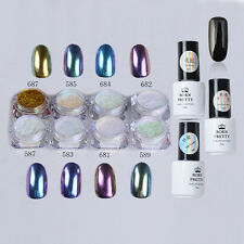 12pcs/set Nail Art Chameleon Mirror Glitter Powder Chrome Pigment Black UV Gel