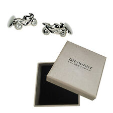 Mens Silver Plated Motor Cycle Cufflinks & Gift Box - Motor Bike By Onyx Art