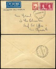 NEW ZEALAND 1937 CORONATION 1d + KIWI 1d WELLINGTON to POSTMASTER NEW PLYMOUTH