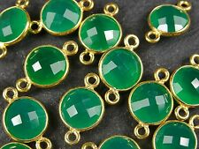 1 x 10mm ROUND FACETED GREEN ONYX / CHALCEDONY GOLD VERMEIL CONNECTOR