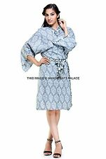 Indian Floral Print Cotton Robe Dressing Gown Wedding Bride Gown Bath Robe Maxi