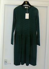 EXQUISITE!CHINTI AND PARKER NAVY-GREEN STRIPED DRESS SKATER STYLE