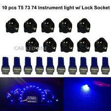 10pcs T5 PC74 Twist Socket Instrument Cluster Blue Dashboard Led Light Bulb