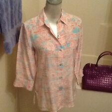 Women's Saks Fifth Avenue Folio silk floral roses pink blue blouse Small