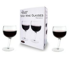 Pack of 2 Tipsy Wonky Novelty Wine Glasses Gift Set Tilted Funny Drinking Party