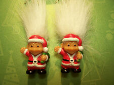 "CHRISTMAS SANTA EARRINGS - 2"" Russ Troll Dolls - NEW - White Hair"