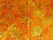 """BATIK one-of-a-kind florals on orange 100% cotton quilting fabric 3 yds x 44"""" w"""