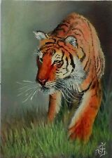 Hand Painted Original ACEO Oil Hunter Wildlife SIBERIAN TIGER Signed by JV