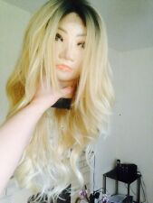 """Human Hair Blend Wig Lace Front Ombré Blonde, Real Hair, Dark Roots 26"""" Long"""