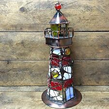 Stained Glass Lighthouse Tealight Holder red and white