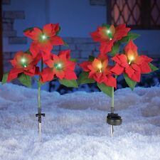 Set of 2 Color Changing Solar Poinsettia Stakes Lawn Yard Garden Christmas Decor