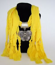 NEW BEAUTIFUL YELLOW SCARF NECKLACE+SILVER TONE BUTTERFLY PENDANT