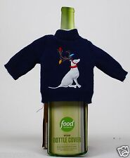Food Network Wine Bottle Cover Blue with Dog Sweater Great Unique Gift Idea