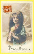 cpa BONNE ANNÉE 1912 de M.L. ROUBY à Andrée FAGGIANELLI d'ASNIÈRES Femme Fourrur
