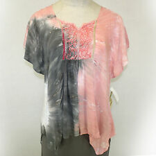 NEW NWT One World Apparel Pink Tie-Dye Embroidered Peasant Boho V-Neck Blouse XL