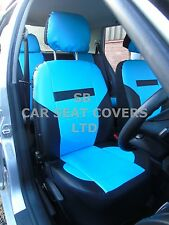 i - TO FIT A VOLKSWAGEN E-GOLF CAR, SEAT COVERS, PVC LEATHER, SKY BLUE/BLK 59.99