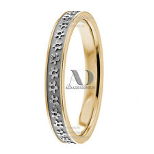 Solid 14K Gold Two Tone Floral Womens Wedding Band 3mm