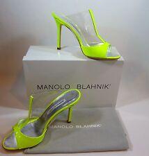 """Manolo Blahnik NIB """"Rip"""" T Strap Slide Sandals Heels Neon Lime Yellow Sz 9 /39B"""